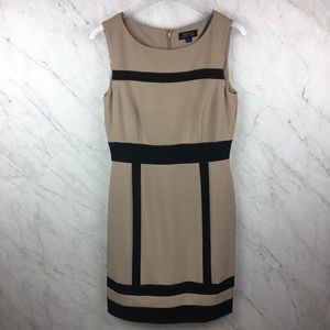 Tahari Tan & Black Sleeveless Dress, Size 6